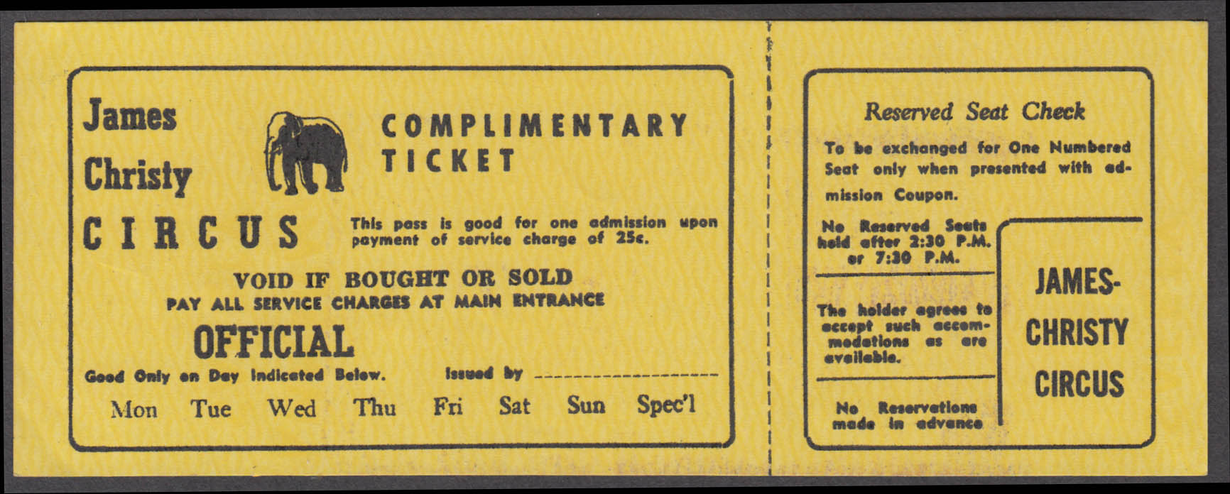 James Christy Complimentary Reserved Seat Check circus ticket