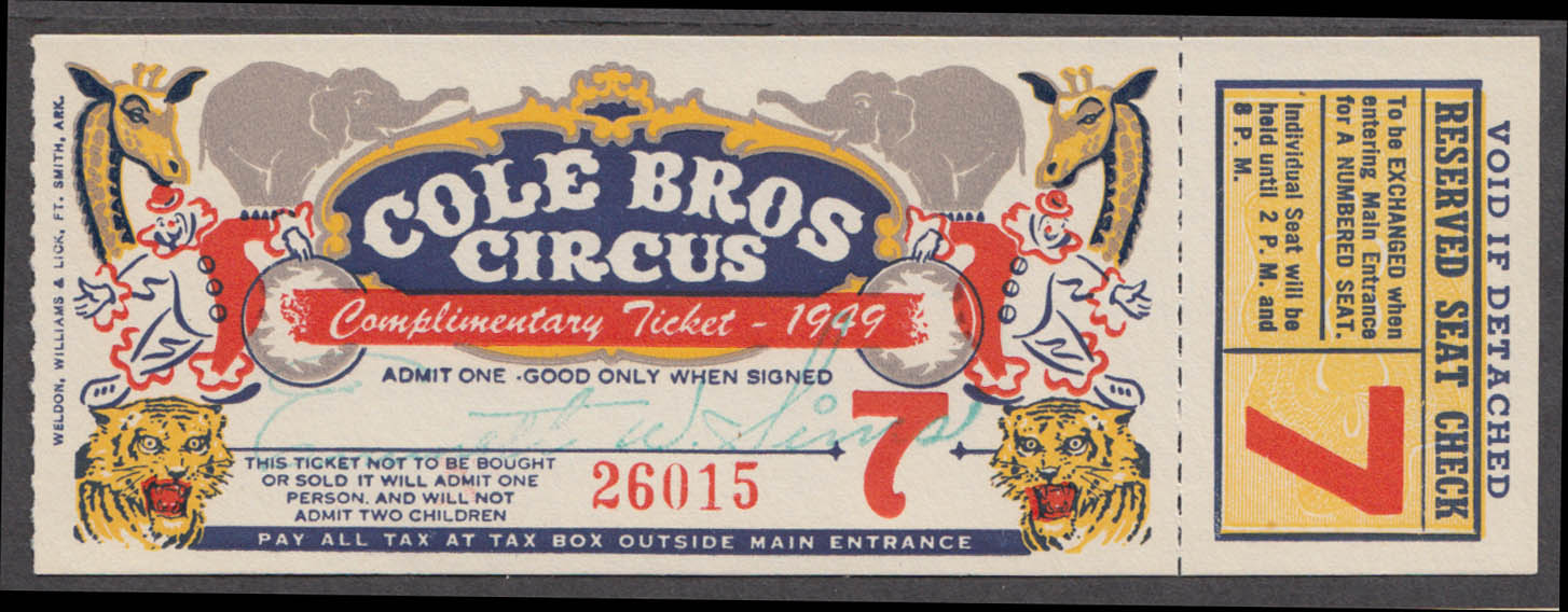 Cole Bros Complimentary Reserved Seat circus ticket 1949