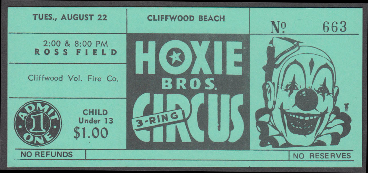 Hoxie Bros Big 3-Ring Circus Cliffwood Beach $1.00 Child circus ticket