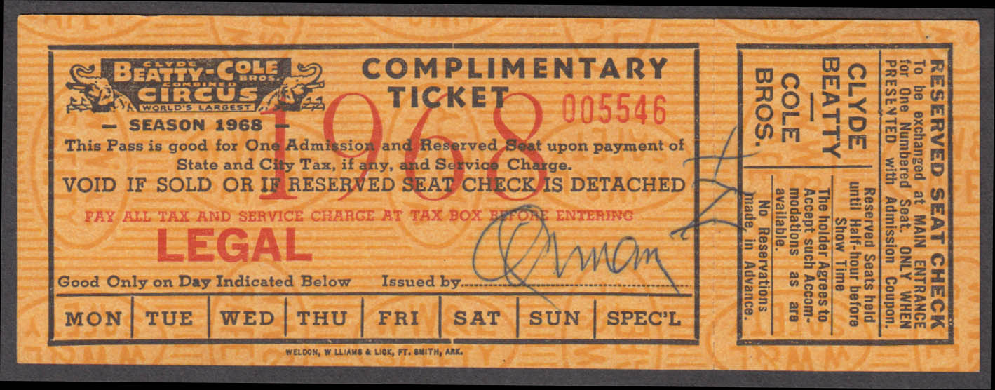 Clyde Beatty-Cole Bros Complimentary Reserved Seat circus ticket 1968