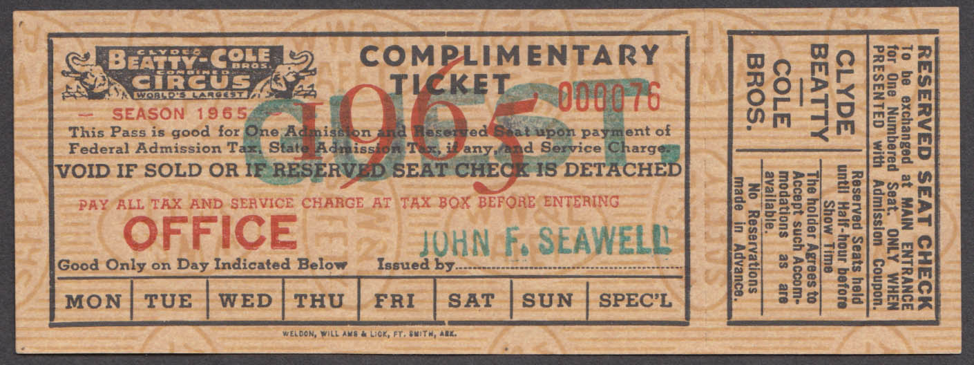 Clyde Beatty-Cole Bros Complimentary Reserved Seat Guest circus ticket 1965