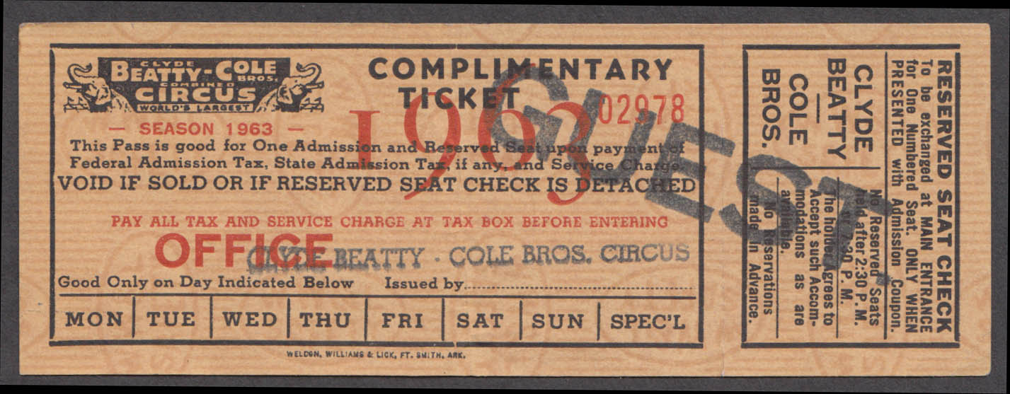 Clyde Beatty-Cole Bros Complimentary Reserved Seat Guest circus ticket 1963