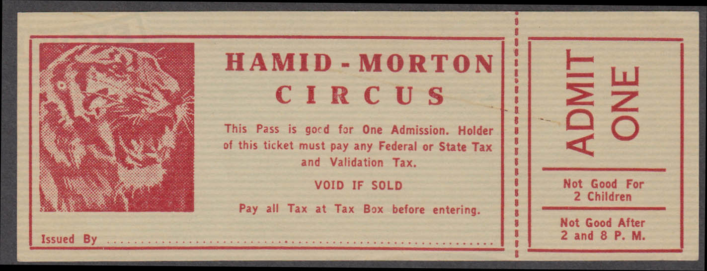 Hamid-Morton Circus Admit One Pass circus ticket