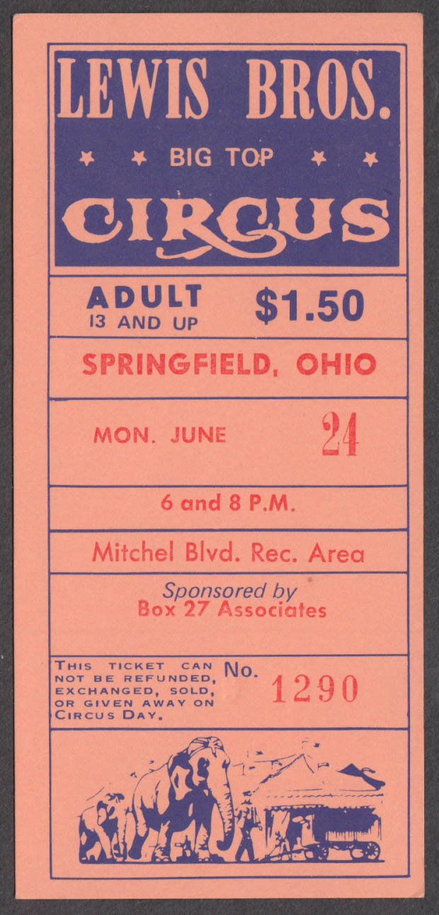 Lewis Bros Big Top Adult $1.00 circus ticket Springfield OH