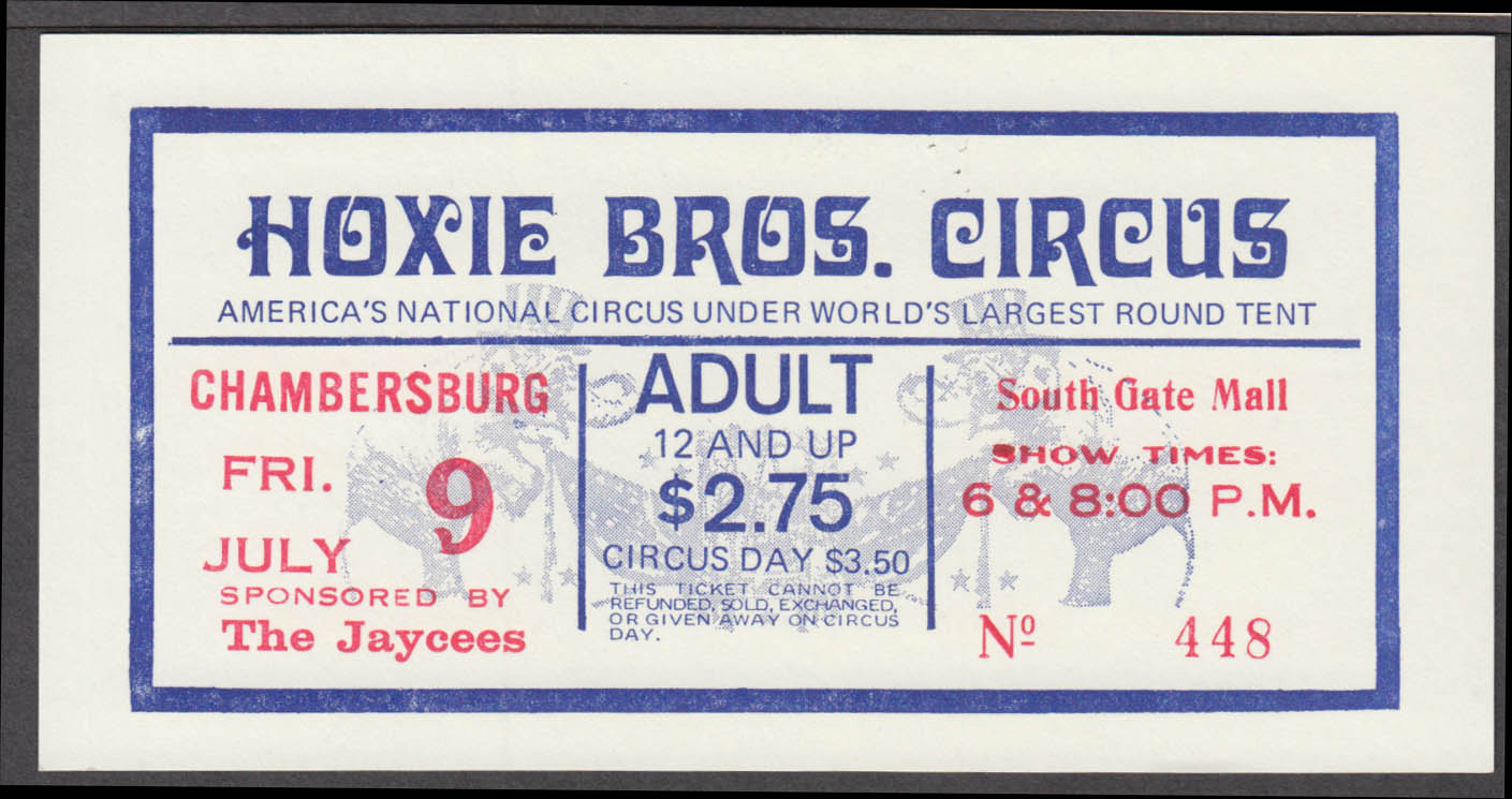Hoxie Bros Adult $2.75 circus ticket Chambersburg South Gate Mall