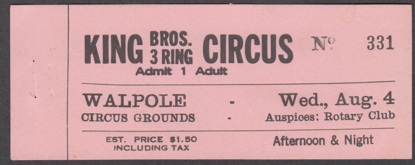 King Bros 3-Ring Circus $1.50 circus ticket Walpole Grounds MA