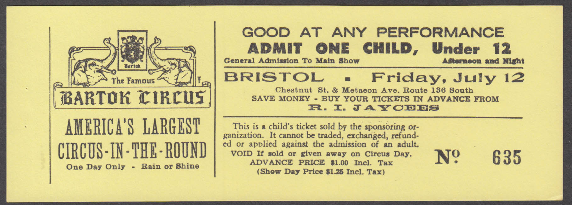 Bartok Circus in the Round Child circus ticket Bristol RI