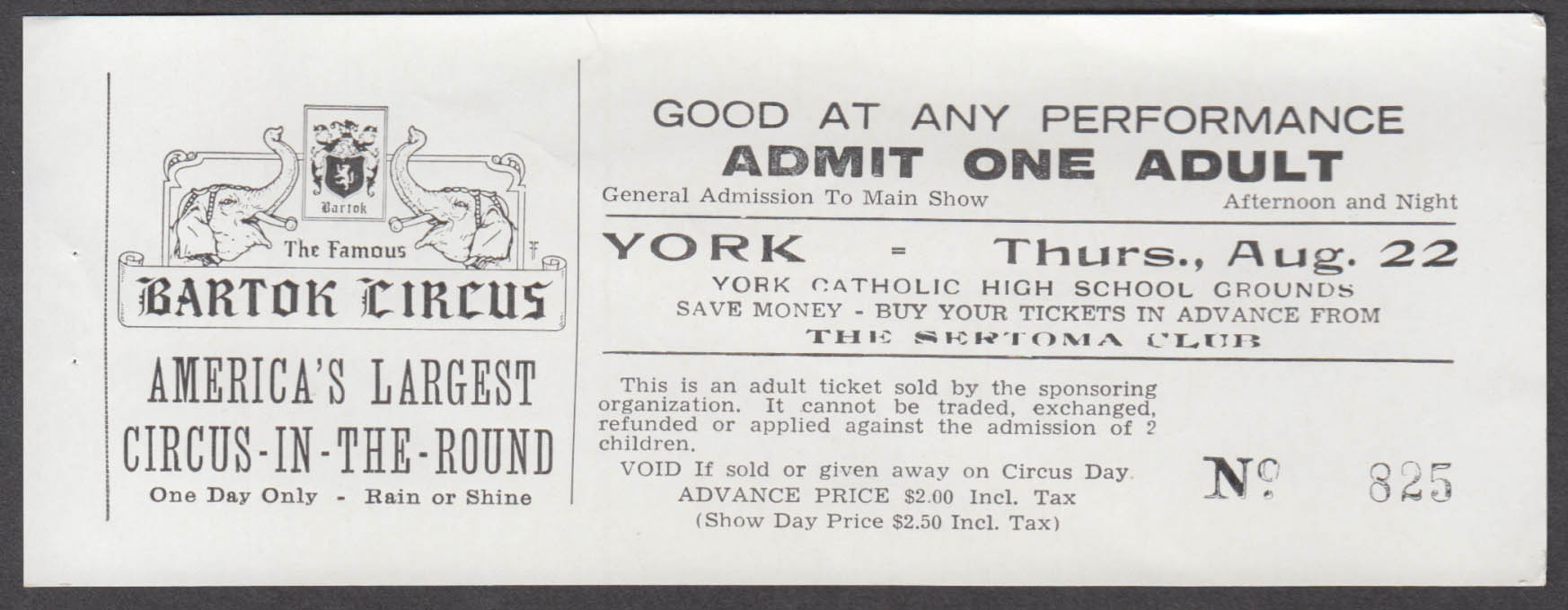 Bartok Circus-in-the-Round Adult $2.00 circus ticket York Catholic High Grounds
