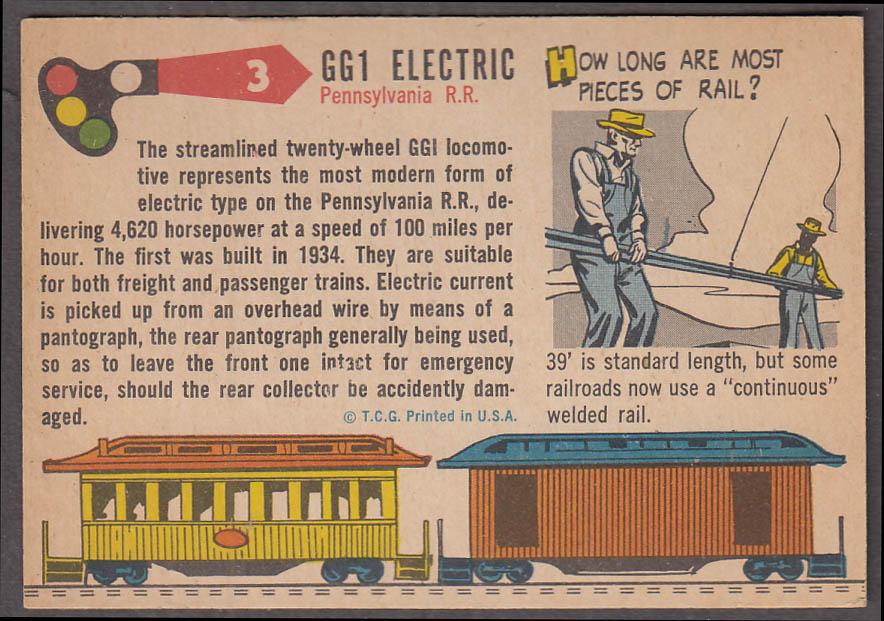 1955 Topps Rails & Sails #3 Pennsylvania RR GG1 Electric Locomotive