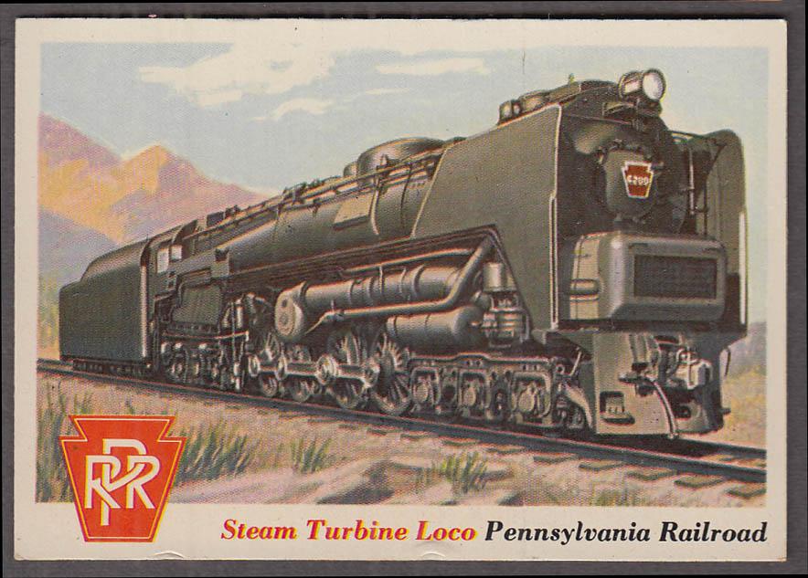 1955 Topps Rails & Sails #12 Pennsylvania RR Steam Turbine Locomotive