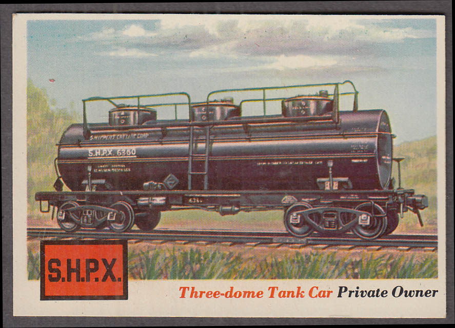 1955 Topps Rails & Sails #13 Shippers Car Line Three-dome Tank Car