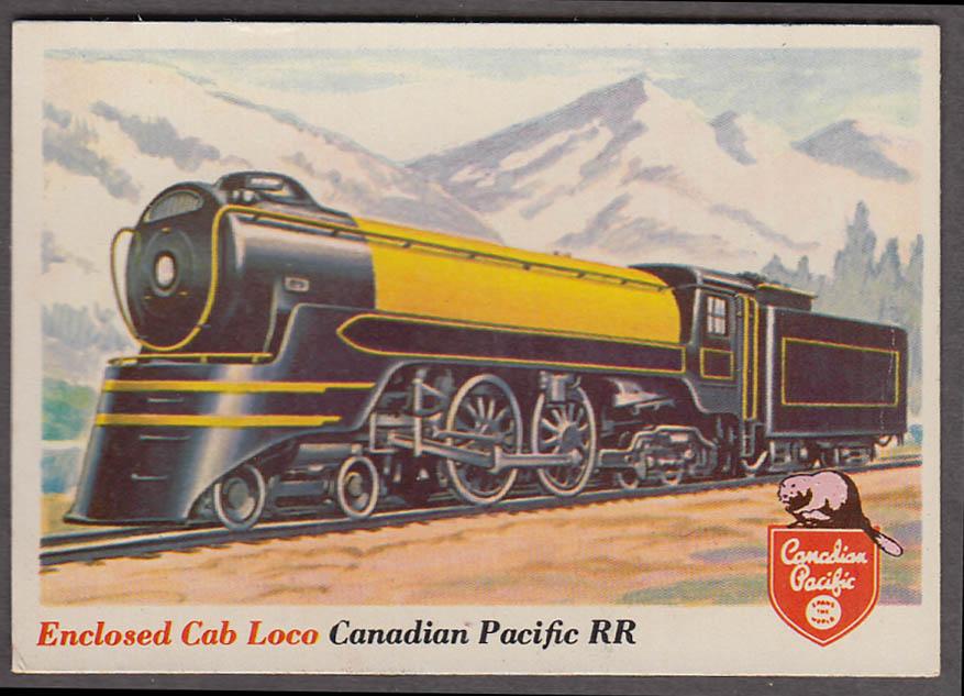 1955 Topps Rails & Sails #1 Canadian Pacific RR Enclosed Cab 4-4-4 Locomotive