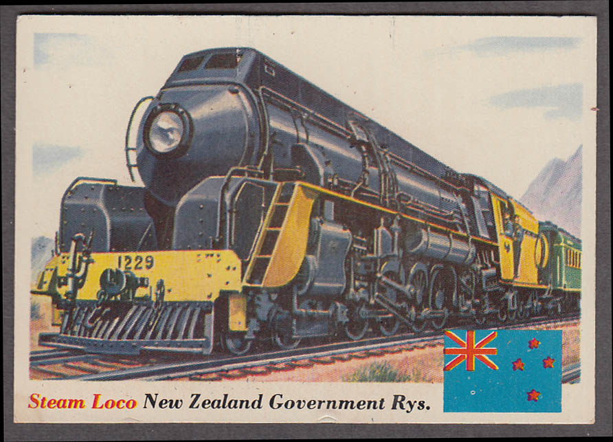 1955 Topps Rails & Sails #18 New Zealand Government Railroads Steam Locomotive