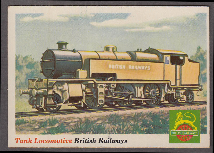 1955 Topps Rails & Sails #19 British Railways Tank 2-6-4T Locomotive