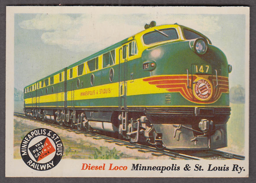 1955 Topps Rails & Sails #21 Minneapolis & St Louis RR GE Diesel Locomotive