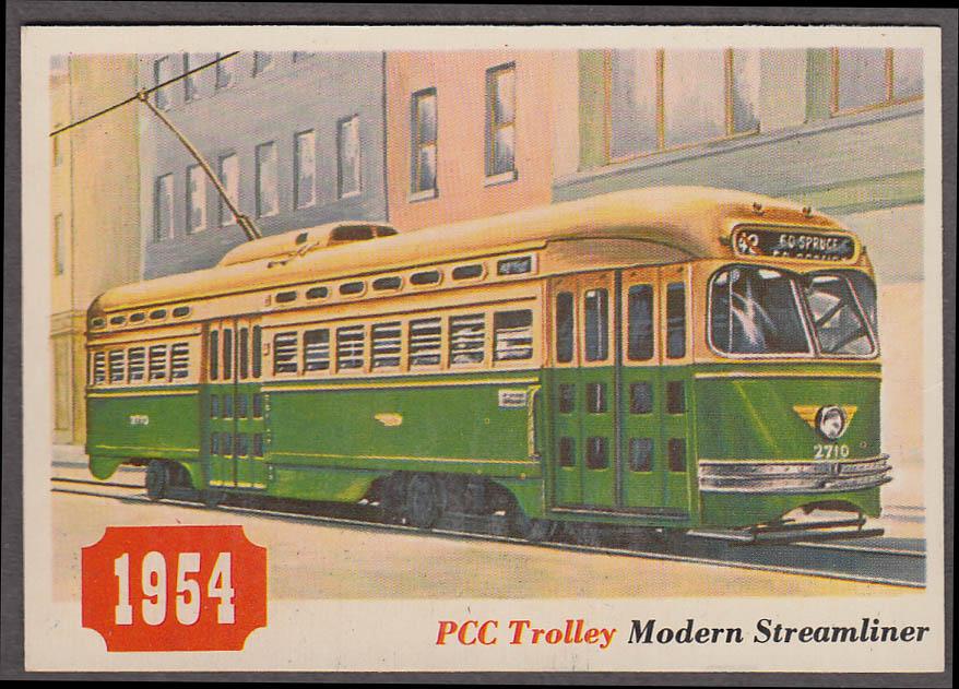 1955 Topps Rails & Sails #23 PCC Streamlined Trolley Car