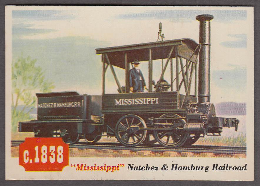 1955 Topps Rails & Sails #24 Natchez & Hamburg RR The Mississippi locomotive