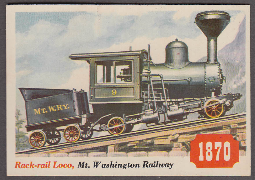 1955 Topps Rails & Sails #27 Mt Washington Railway Rack-rail Locomotive