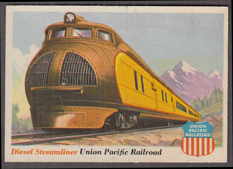 1955 Topps Rails & Sails #32 Union Pacific RR Diesel Streamliner 1934