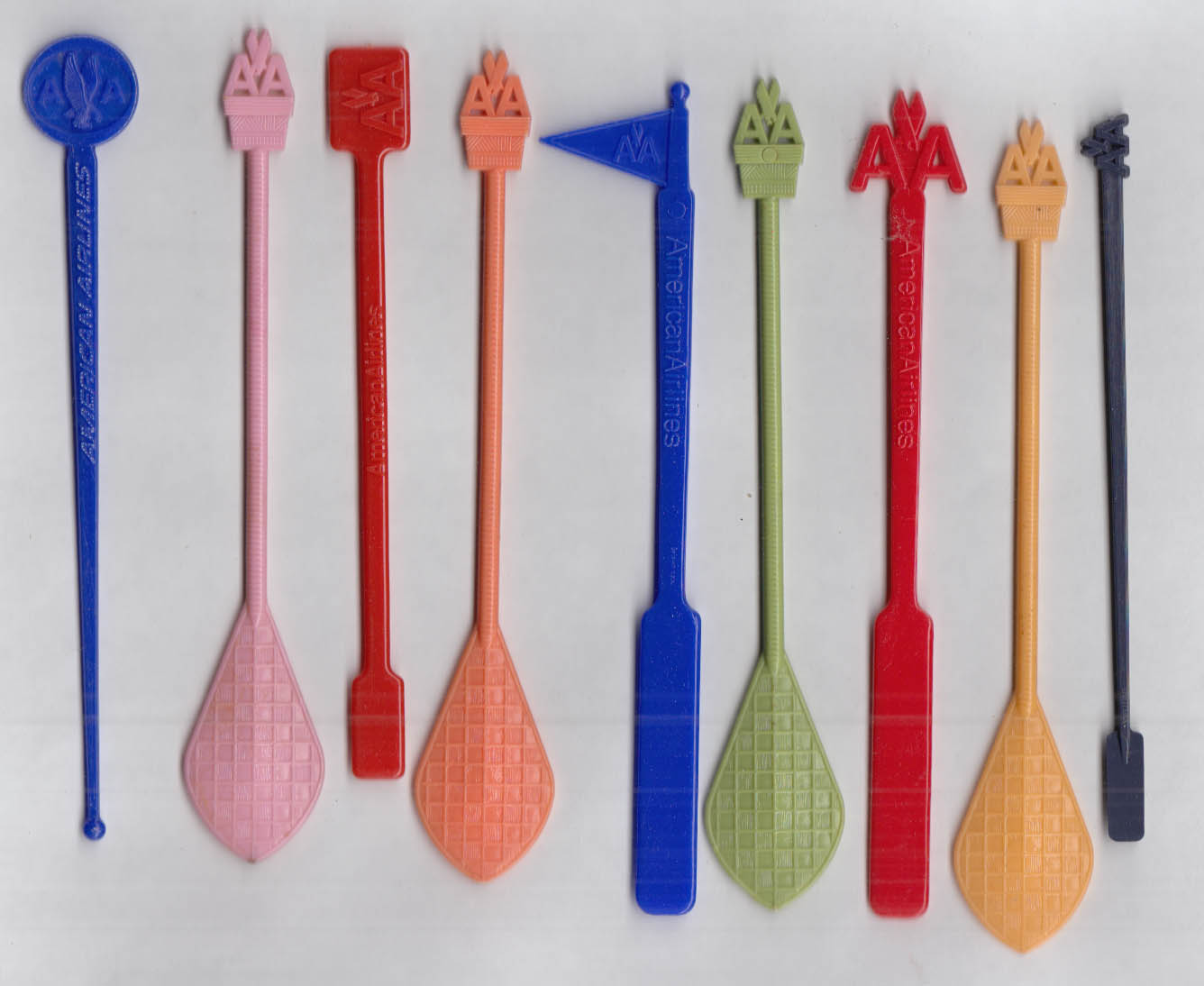9 different American Airlines airline swizzle sticks