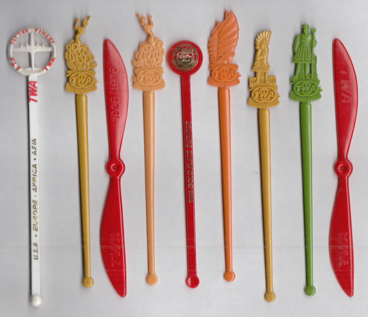 9 different Trans World Airlines TWA airline swizzle sticks 1950s-80s
