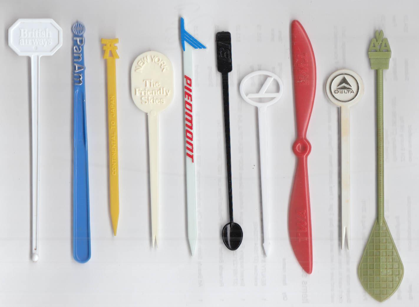 10 different airline swizzle sticks British Air United PanAm Piedmont BI Eastern