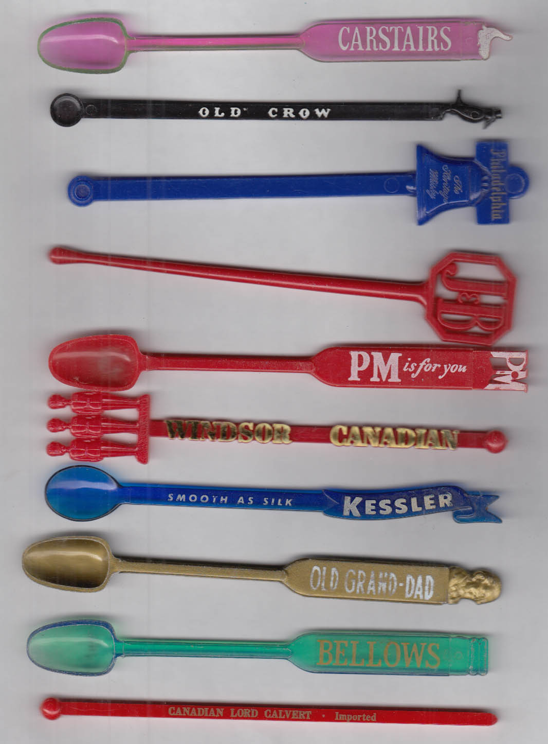 10 different whiskey swizzle sticks J&B Bellows Carstairs Old Crow Windsor PM +