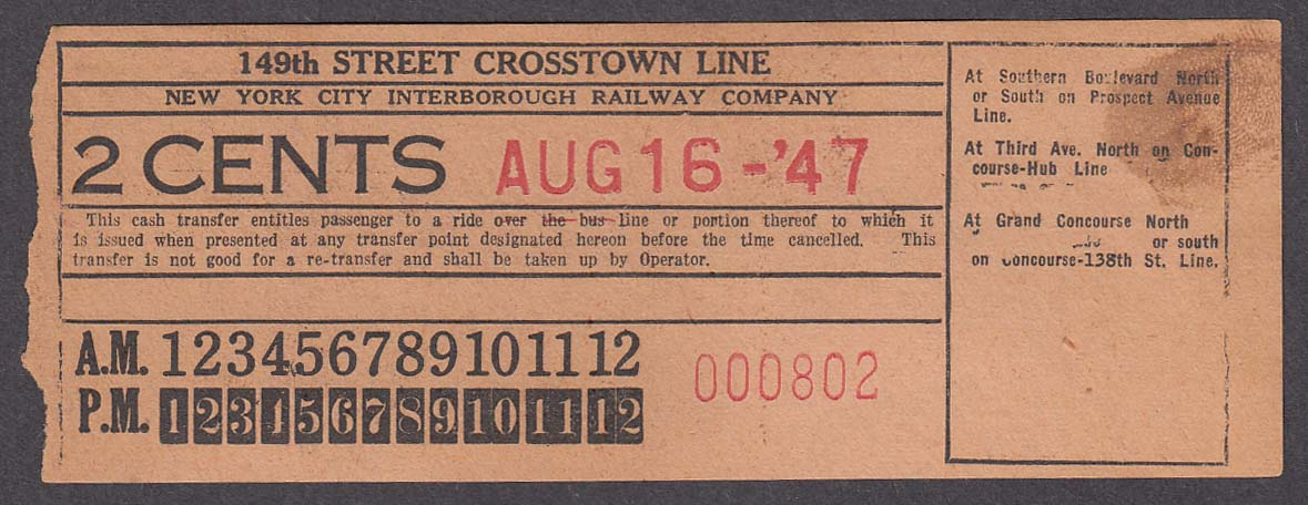 149th Street Crosstown Line New York City Interborough Railway Co transfer 1947