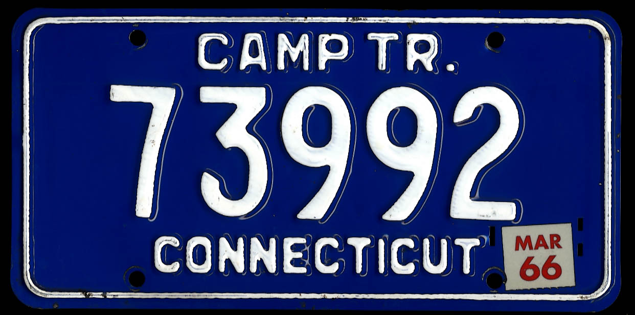 Image for Connecticut Camp Trailer license plate Mar 1966 sticker 73992 used