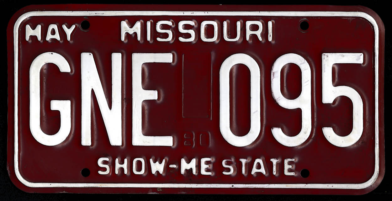 Image for Missouri license plate 1980 base, no sticker; used