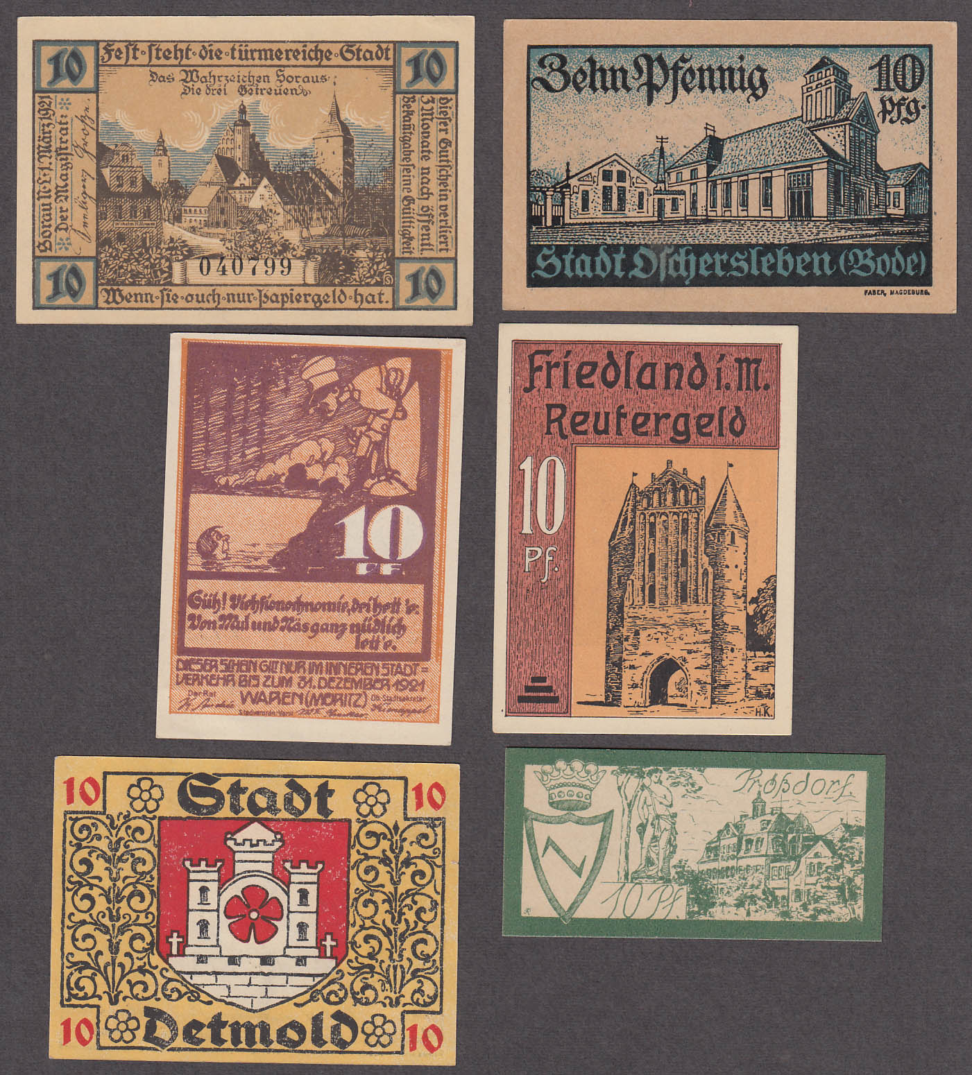Lot of SIX 10 Pfennig Token-Notes Bank Notes Notgeld Germany 1921 Lot #1
