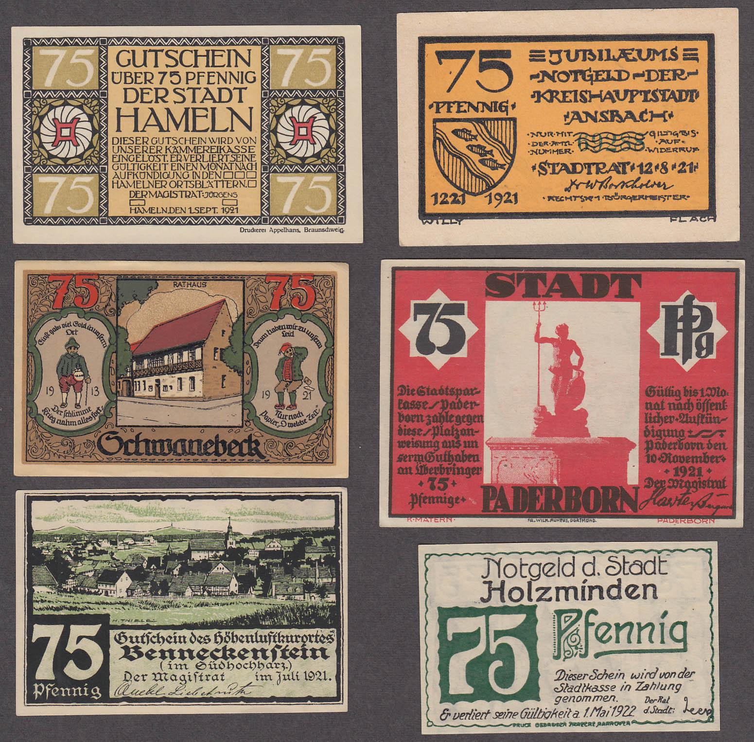 Lot of SIX 75 Pfennig Token-Notes Bank Notes Notgeld Germany 1921 Lot #1
