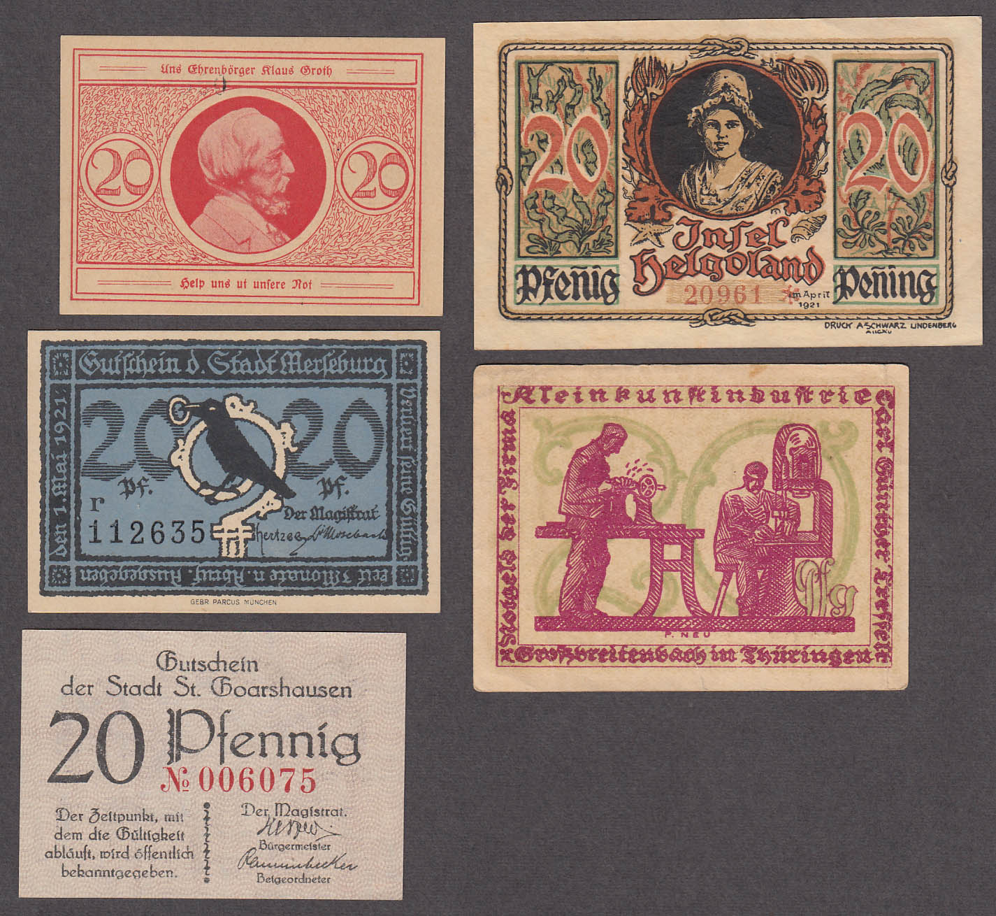 Lot of SIX 20 Pfennig Token-Notes Bank Notes Notgeld Germany 1921