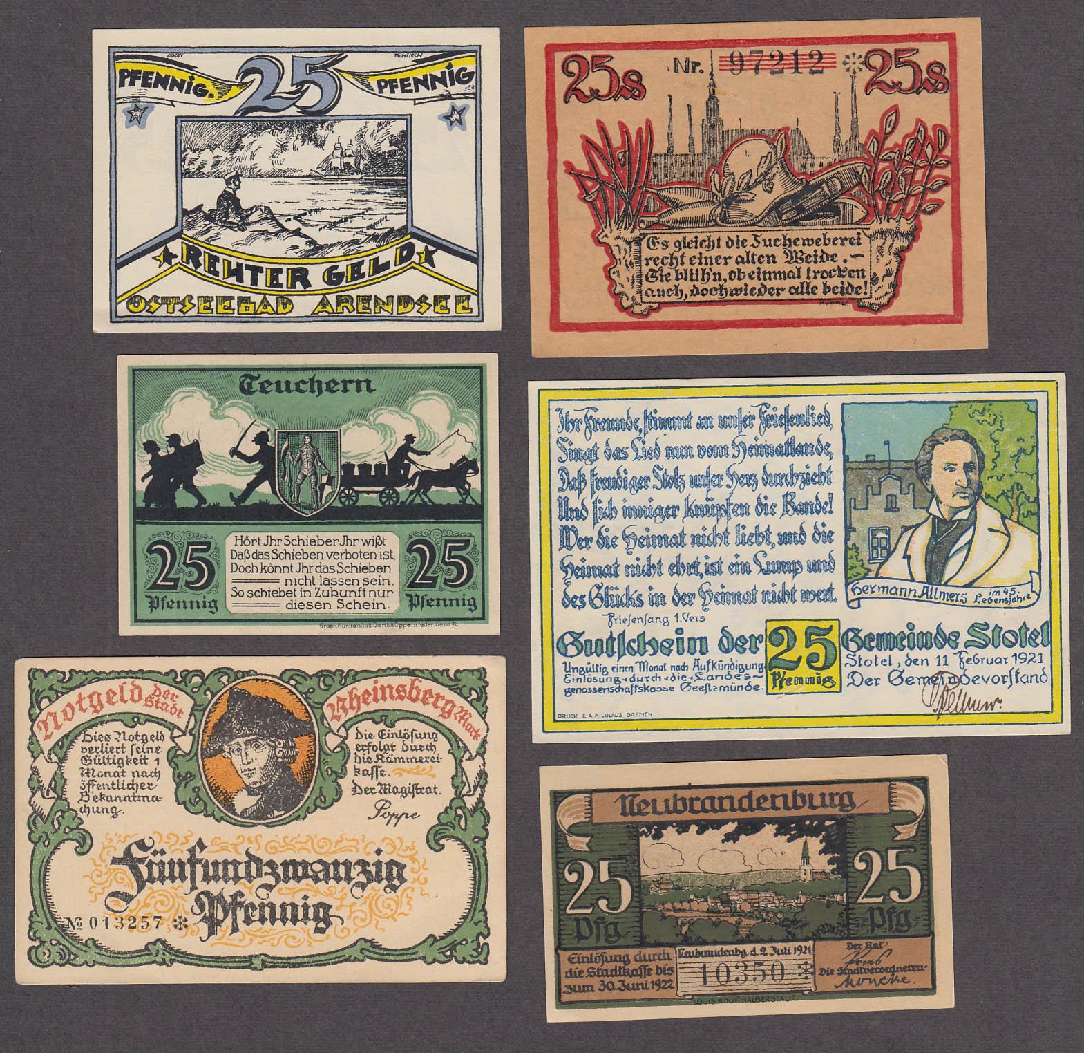Lot of SIX 25 Pfennig Token-Notes Bank Notes Notgeld Germany 1921 Lot #3