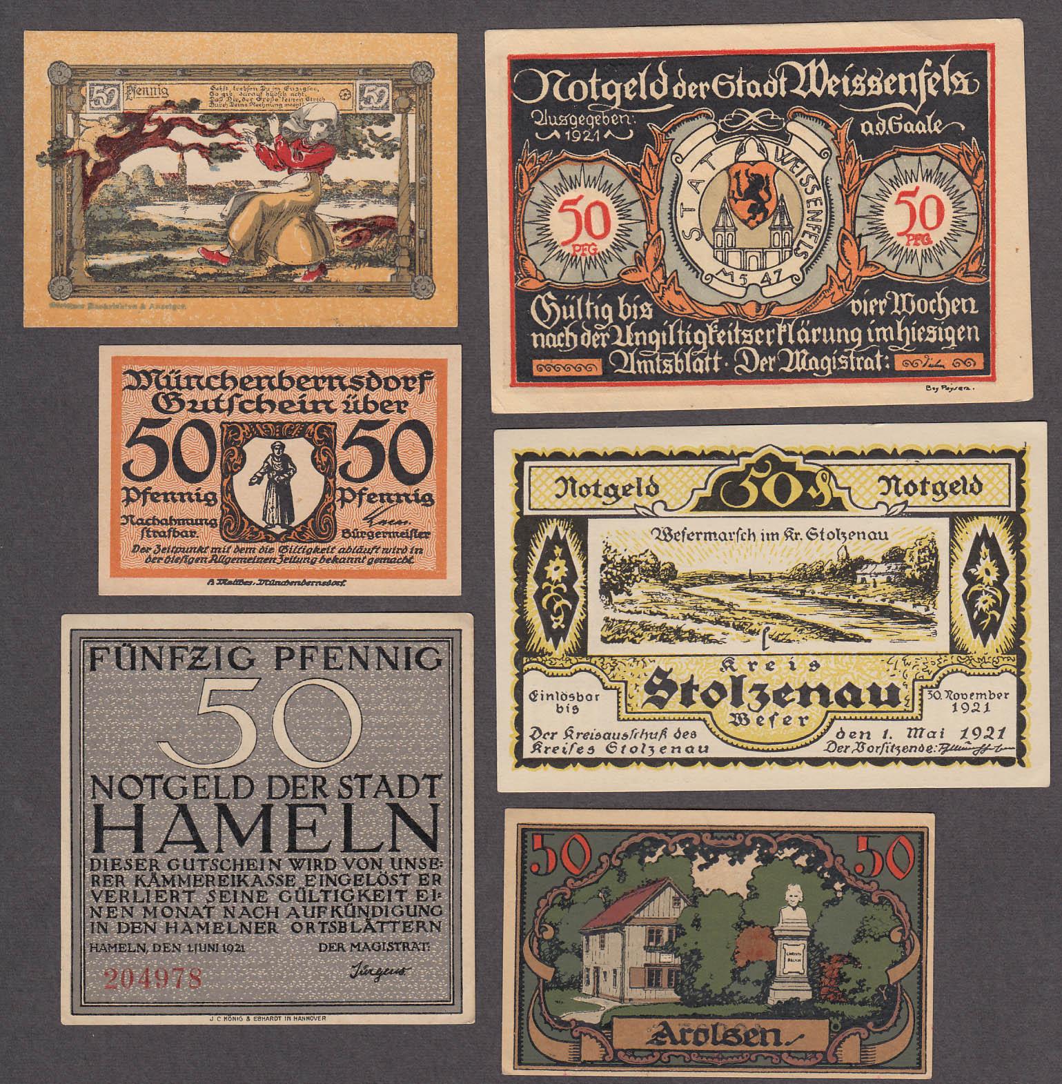 Lot of SIX 50 Pfennig Token-Notes Bank Notes Notgeld Germany 1921 Lot #3