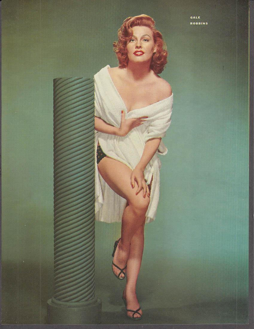 Actress Gale Robbins towel over panties pin-up 1953