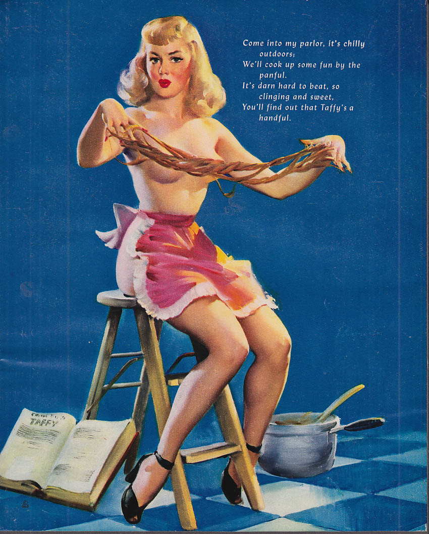 Come Into My Parlor Elvgren pin-up saltwater taffy pull topless blonde