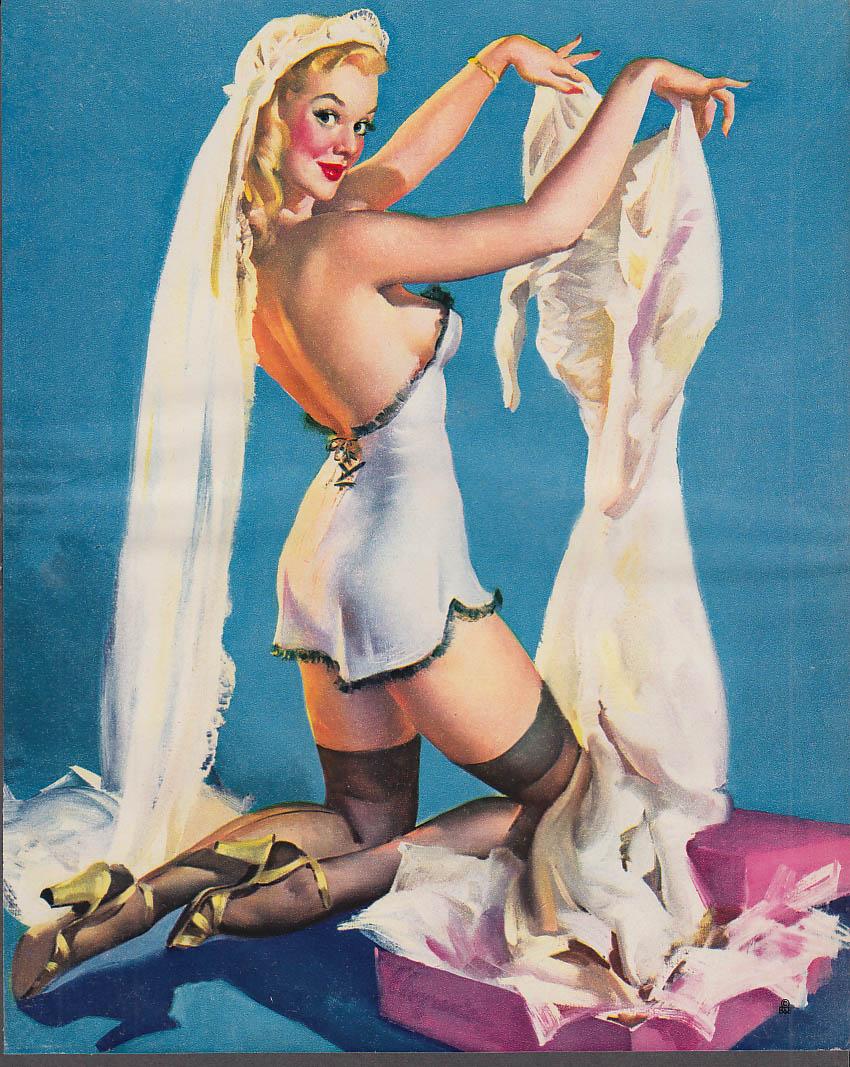 Elvgren pin-up Blonde teddy heels getting into wedding dress 1953