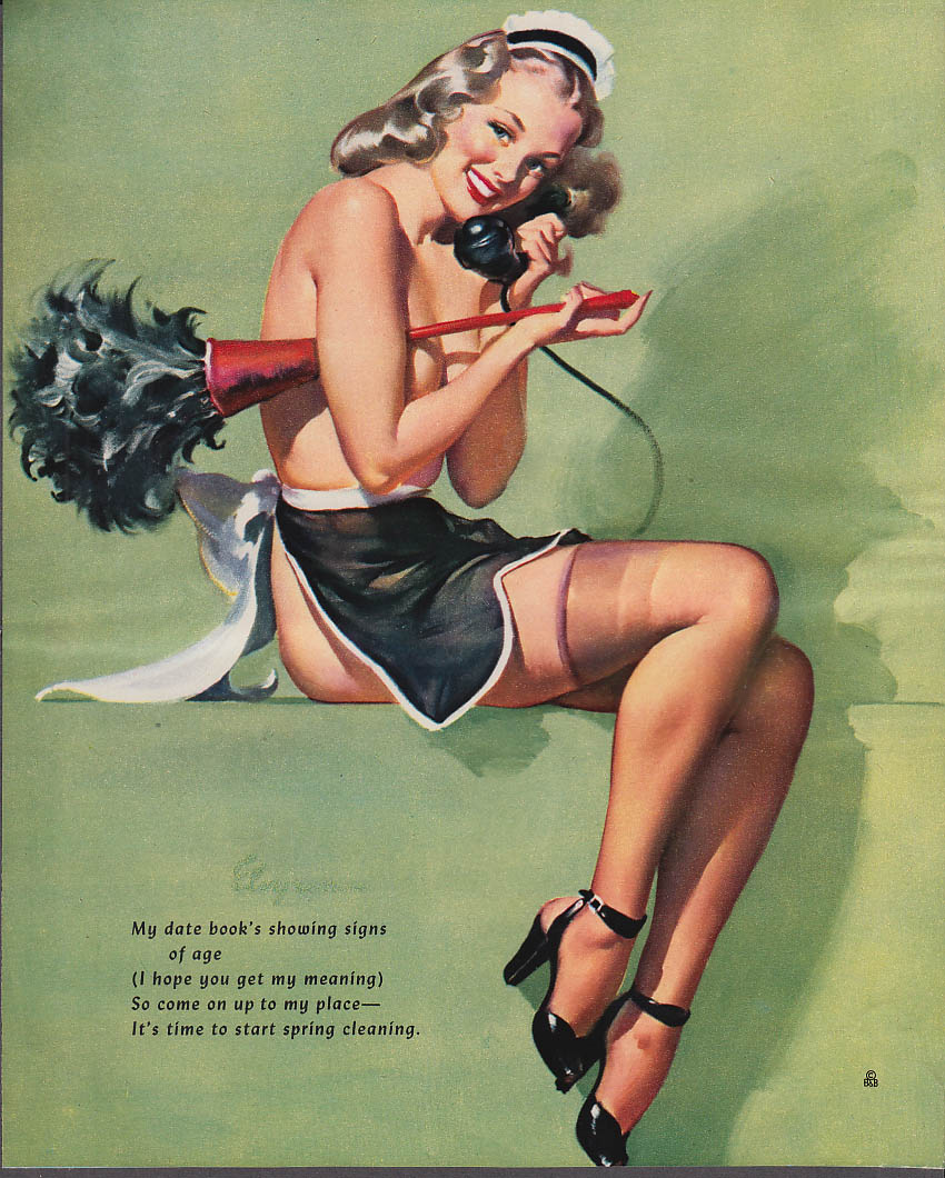 Datebook's showing age Elvgren pin-up nude blonde maid outfit featherduster 1953