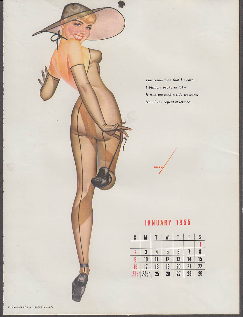Petty Girl calendar pin-up 1 1955 transparnt body stocking big hat