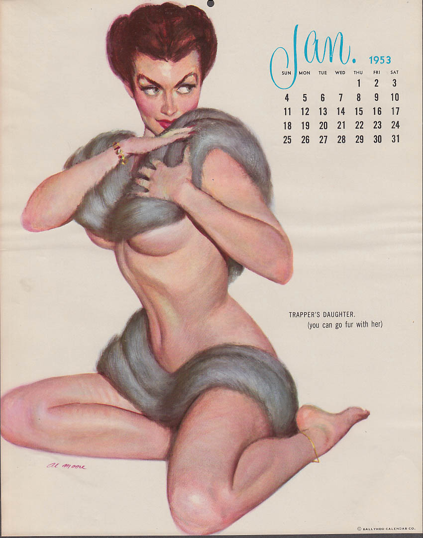 Al Moore calendar pin-up 1 1953 Trapper's Daughter mink over top & bottom
