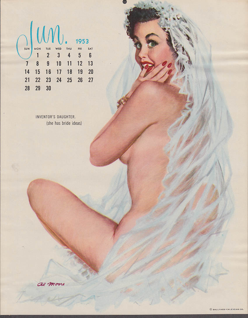 Al Moore calendar pin-up 6 1953 Inventor's Daughter bridal veil & nothing else