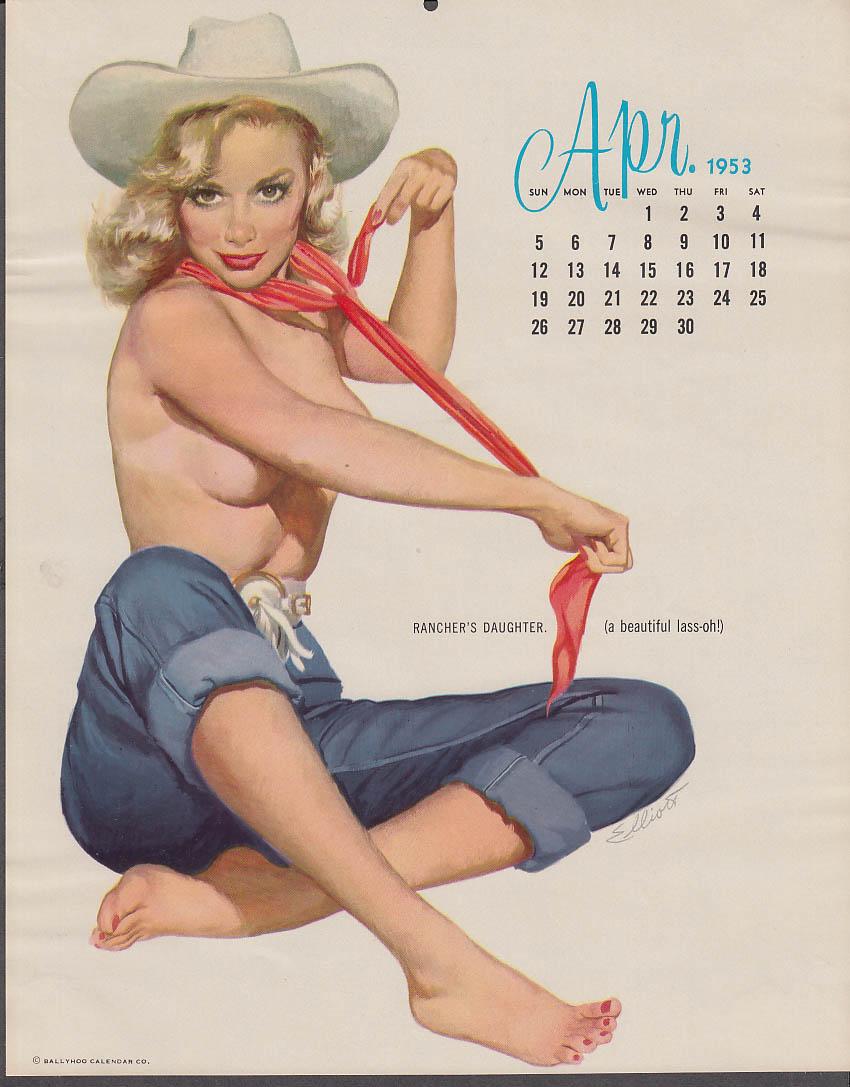 Freeman Elliott calendar pin-up 4 1953 Rancher's Daughter topless over bluejeans