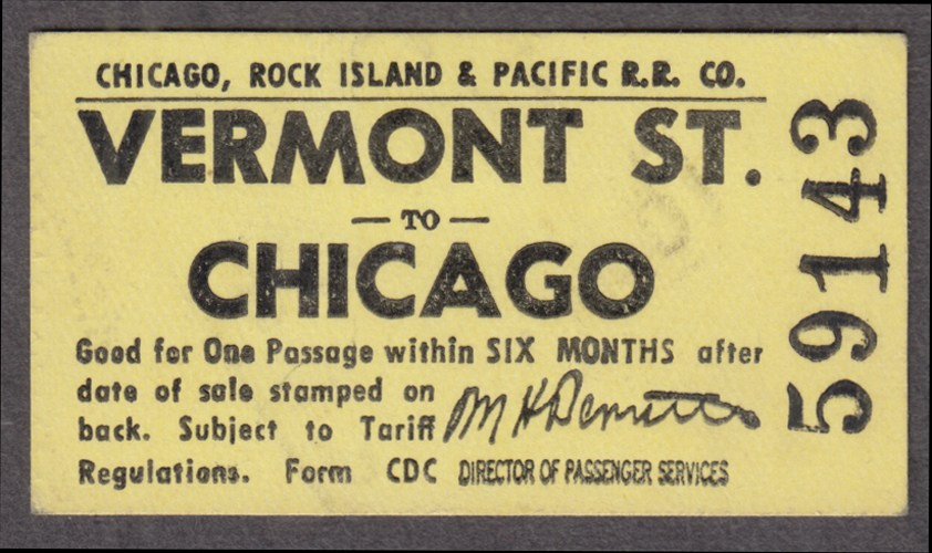 Chicago Rock Island & Pacific Vermont St-Chicago railroad ticket 1971