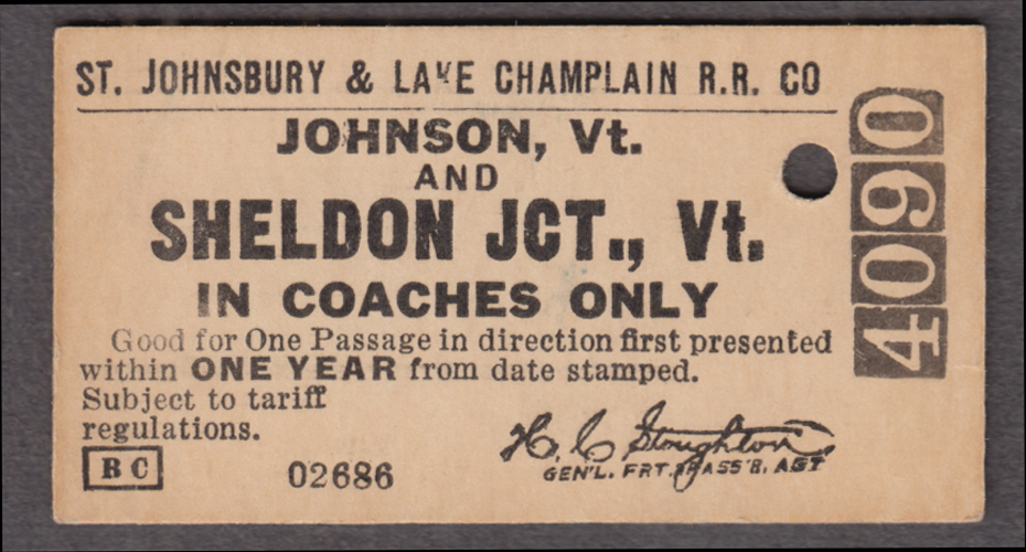 St Johnsbury & Lake Champlain RR ticket Johnson-Sheldon Junction VT 1950