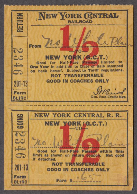 New York Central North White Plains-Grand Central half-fare railroad ticket 1944
