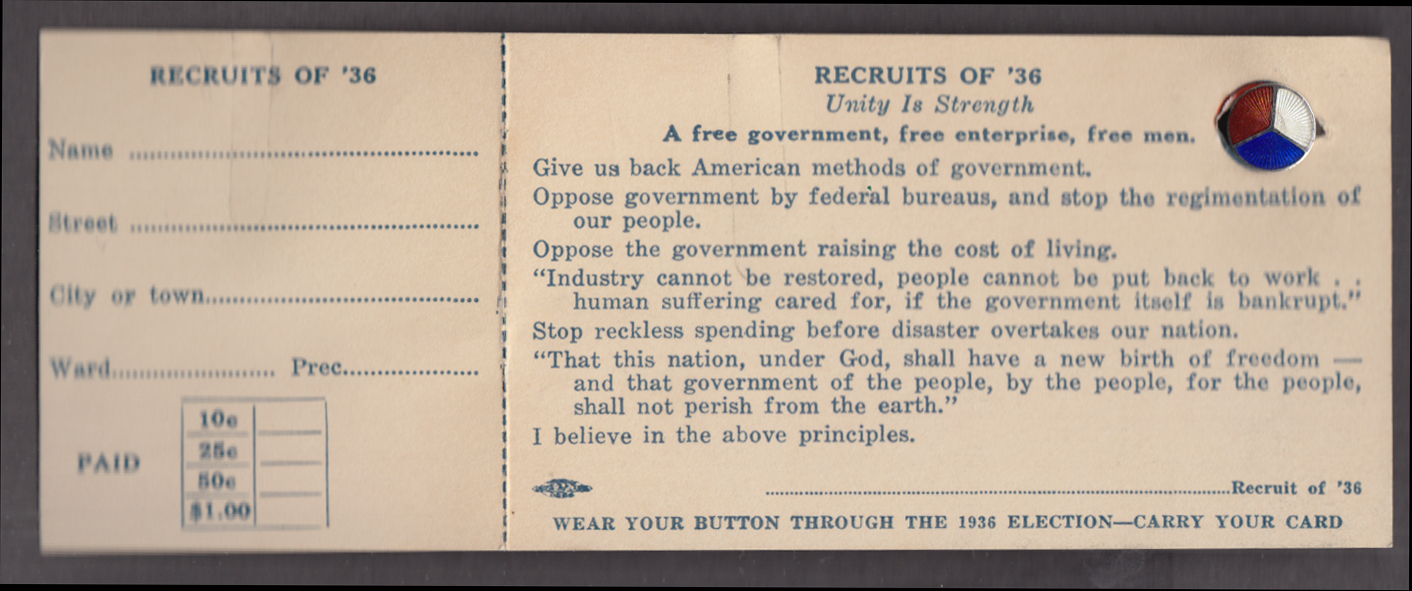 Anti-FDR Recruits of '36 card with enamel pin 1936