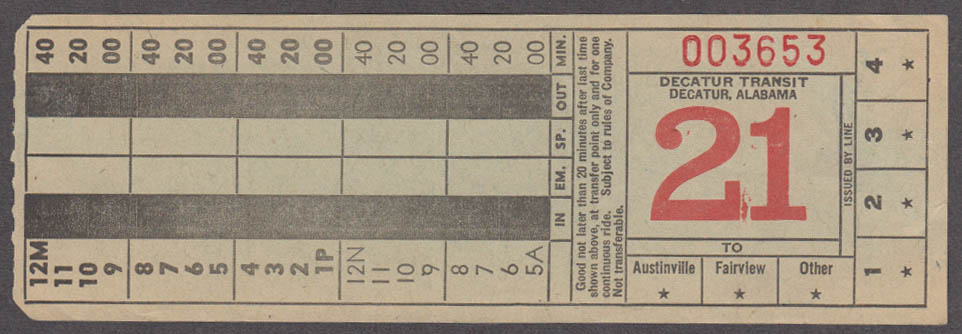 Decatur Transit Austinville Fairview bus transfer ticket Alabama 1940s