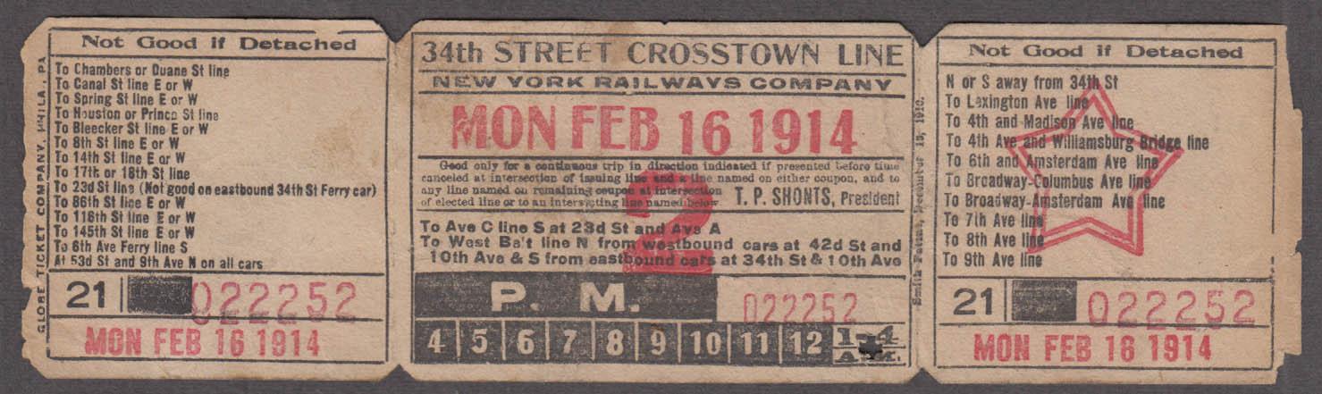 New York Railways 34th Street Crosstown Line railroad ticket 1914