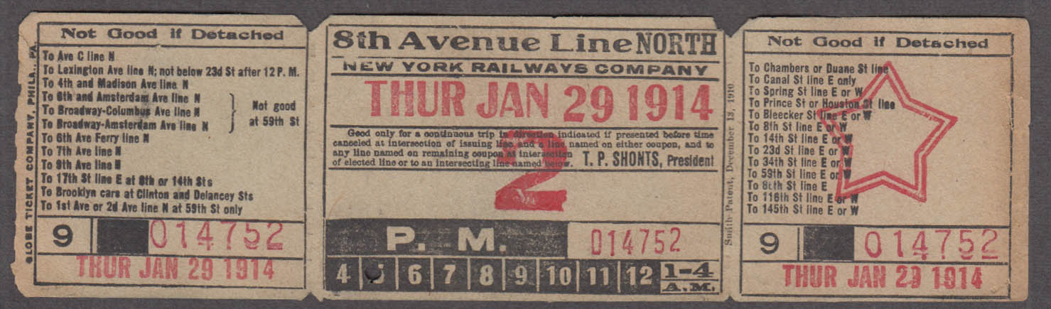 New York Railways 8th Avenue Line North railroad ticket 1914